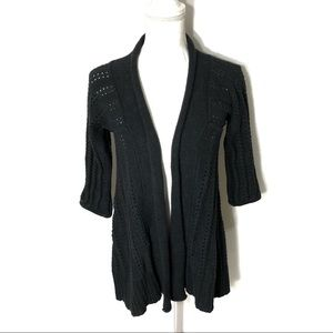 Fossil Gray Open Knit Cardigan XS